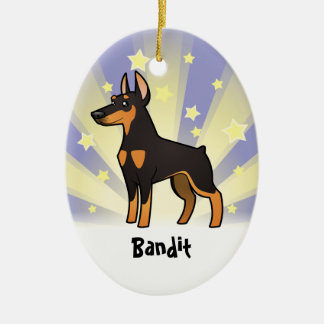 Little Star Doberman Pinscher (pointy ears) Ceramic Oval Decoration
