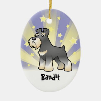 Little Star Giant/Standard/Miniature Schnauzer Double-Sided Oval Ceramic Christmas Ornament