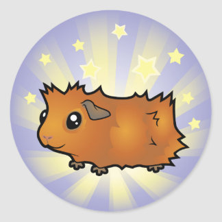 Little Star Guinea Pig (scruffy) Round Sticker