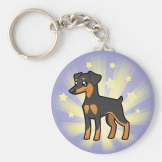 Little Star Miniature Pinscher /Manchester Terrier Basic Round Button Key Ring