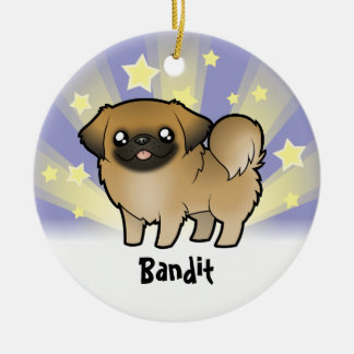 Little Star Pekingese (puppy cut) Round Ceramic Decoration