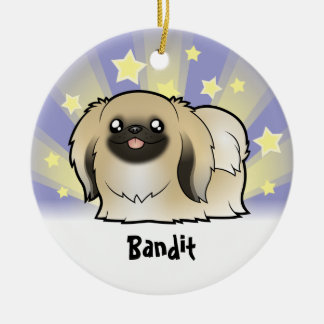 Little Star Pekingese (show cut) Round Ceramic Decoration
