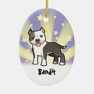 Little Star Pitbull/American Staffordshire Terrier Ceramic Oval Decoration