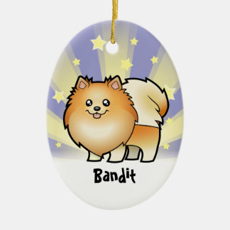 Little Star Pomeranian Ceramic Oval Decoration