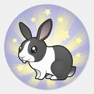 Little Star Rabbit (uppy ear smooth hair) Round Sticker