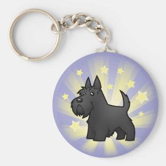 Little Star Scottish Terrier Basic Round Button Key Ring