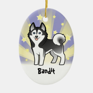 Little Star Siberian Husky / Alaskan Malamute Ceramic Oval Decoration