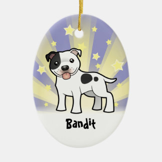 Little Star Staffordshire Bull Terrier Double-Sided Oval Ceramic Christmas Ornament