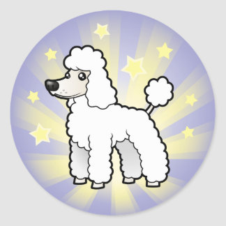 Little Star Standard/Miniature/Toy Poodle pup cut Classic Round Sticker