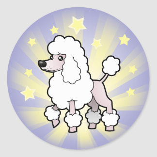 Little Star Standard/Miniature/Toy Poodle show cut Classic Round Sticker