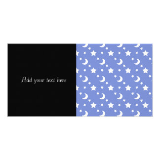 Little Stars and Moons Pattern on Blue Personalized Photo Card