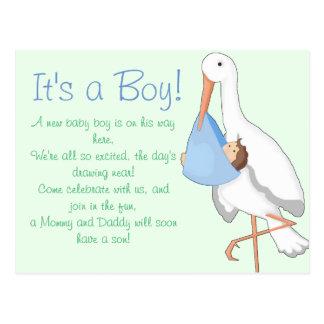 """Little Stork"" It's a Boy! Postcard"