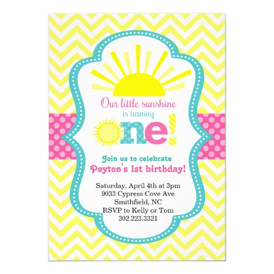 Little Sunshine First Birthday Party Invitation