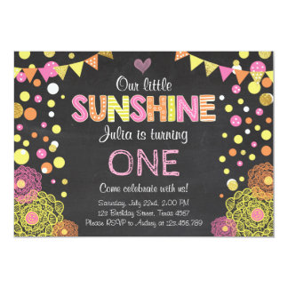 Little Sunshine Lemonade Pink Birthday invitation
