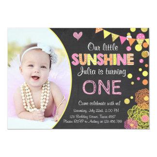 Little Sunshine Lemonade Pink Birthday Invitation