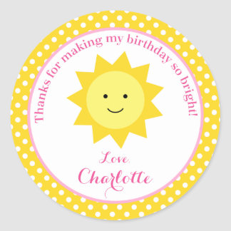Little Sunshine Pink Yellow Birthday Party Favor Classic Round Sticker