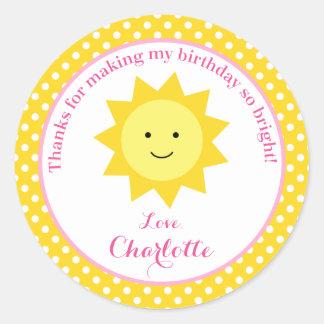 Little Sunshine Pink Yellow Birthday Party Favor Round Sticker