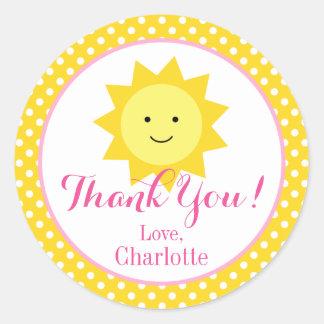 Little Sunshine Pink Yellow Birthday Small Favor Round Sticker