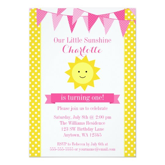 Little Sunshine Pink Yellow Bunting Birthday Card