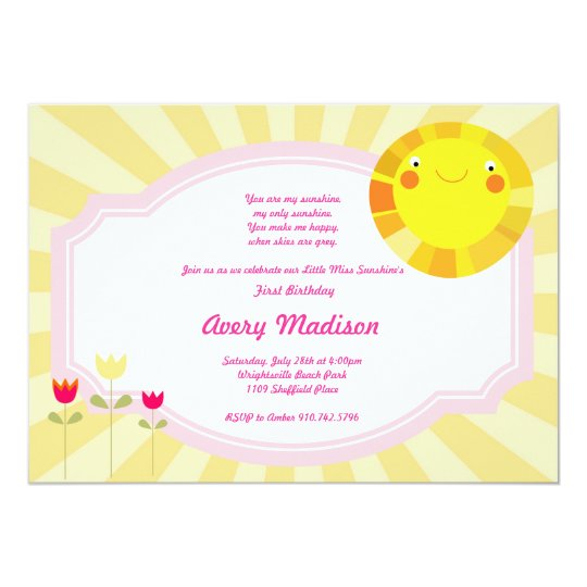 Little Sunshine Summer Spring Baby Shower birthday Card