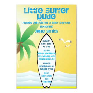 Little Surfer Dude Baby Shower Invite