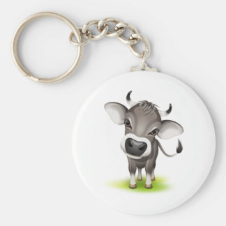 Little swiss cow basic round button key ring