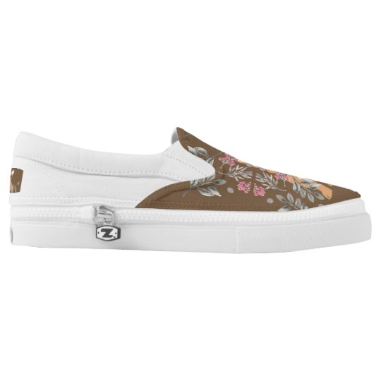 Little Tan French Bulldog with Flower Field Slip On Shoes