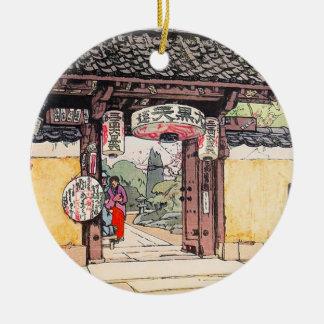 Little Temple Gate Hiroshi Yoshida shin hanga Double-Sided Ceramic Round Christmas Ornament