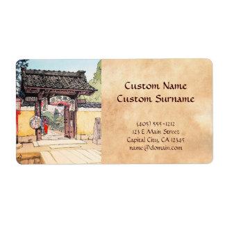 Little Temple Gate Hiroshi Yoshida shin hanga Shipping Label