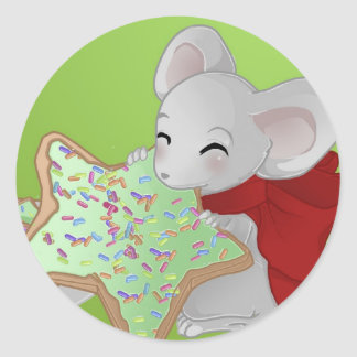 Little thiefing Christmas mouse Round Sticker
