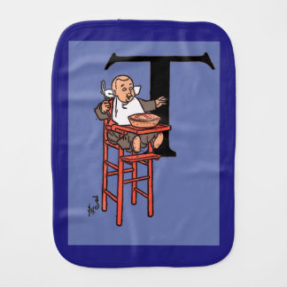 Little Tommy Tucker in his highchair Baby Burp Cloths