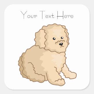 Little Toy Poodle Illustration Square Sticker