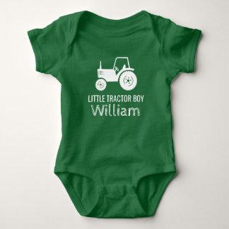 Little tractor boy white green custom baby romper baby bodysuit