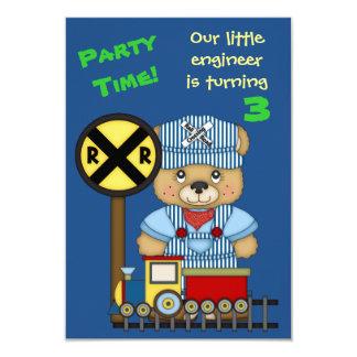 Little Train Engineer Teddy Bear Birthday Party 9 Cm X 13 Cm Invitation Card