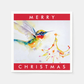 """Little Tree Trimmer"" Hummingbird Print Paper Napkin"