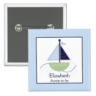 Little Trendy Sailboat Green Blue Nametag Button