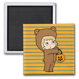 Little Trick or Treater Square Magnet