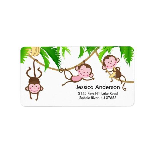 Little Triplets Monkey Baby Shower address Label