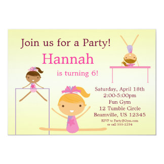 Little Tumbling Gymnast Birthday Party Invitation