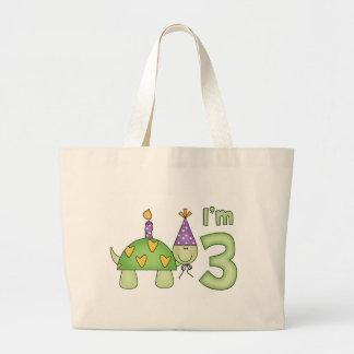 Little Turtle 3rd Birthday Jumbo Tote Bag