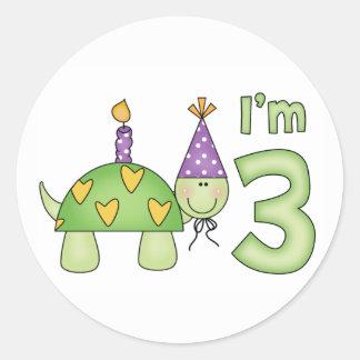 Little Turtle 3rd Birthday Round Stickers