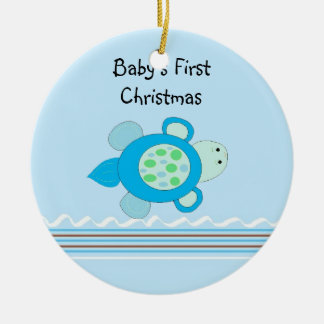 Little Turtle Baby's First Christmas Christmas Ornament