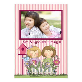 Little Twin Gardeners - Photo Birthday Party Invi Announcements
