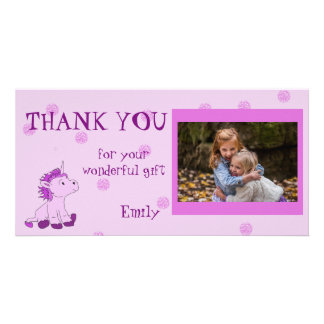 Little Unicorn Personalized Thank you Photo Card