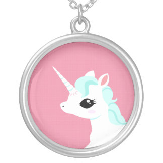 Little Unicorn with blue mane necklace
