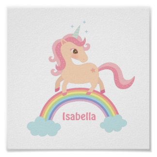 Little Unicorn with Star on Rainbow Girls Wall Art