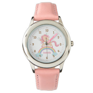 Little Unicorn with Star on Rainbow Pink Watch