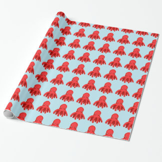 little unsympathetic octopus cartoon style wrapping paper