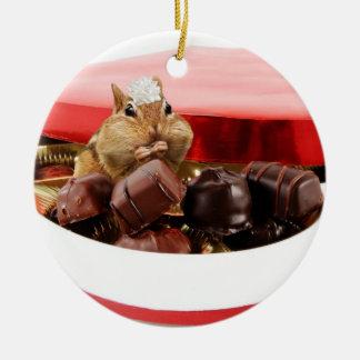 Little Valentine Chipmunk Round Ceramic Decoration
