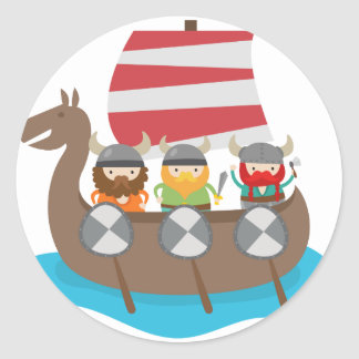 Little Vikings in ship Round Sticker